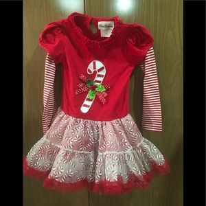 Girls candy cane Christmas dress size 4